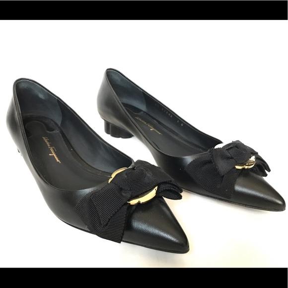 """Salvatore Ferragamo Shoes - Salvatore Ferragamo Talla Black 1"""" Leather Heels"""